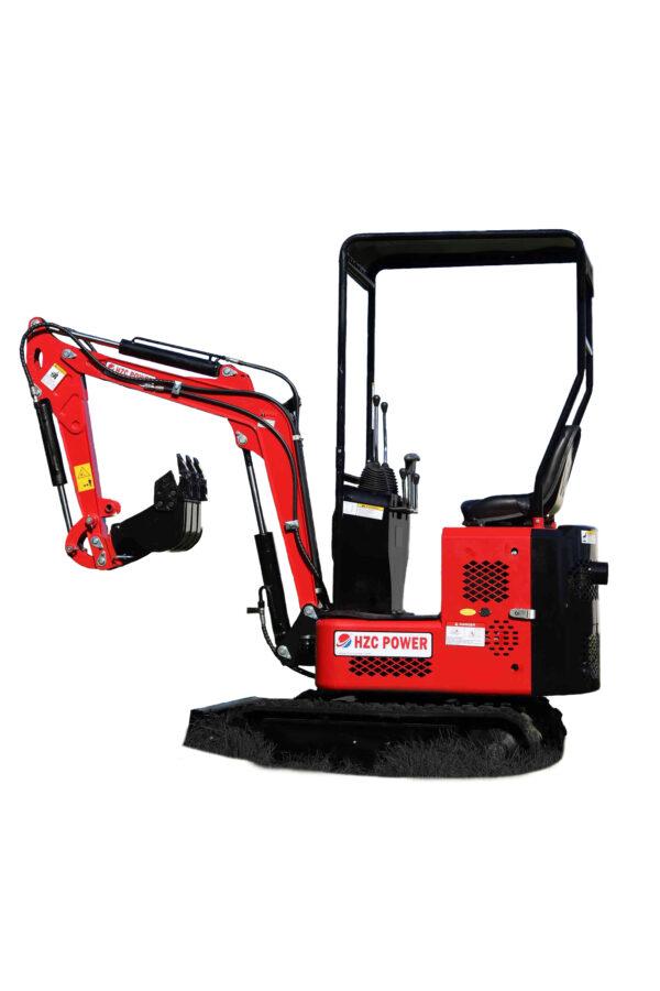 Mini excavator with chain drive, petrol engine & adjustable chassis