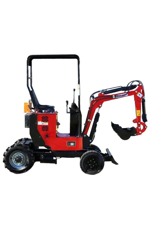 Mini excavator with 4 wheels, petrol engine & adjustable chassis