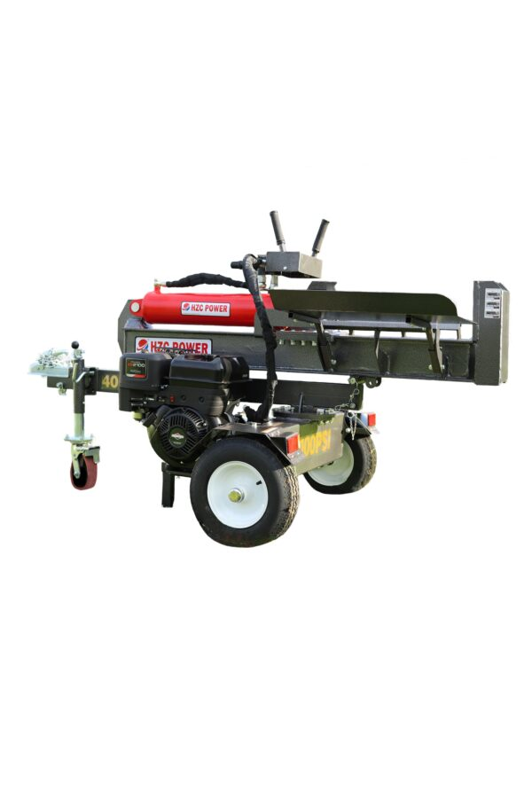 40 t standing & lying wood splitter with petrol engine & table
